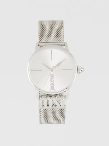 Logo Base Silver Milanese Strap Watch