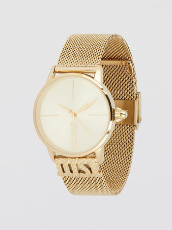Logo Base Gold Milanese Strap Watch