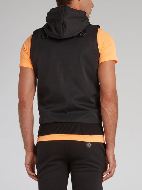 Black Contrast Hooded Vest
