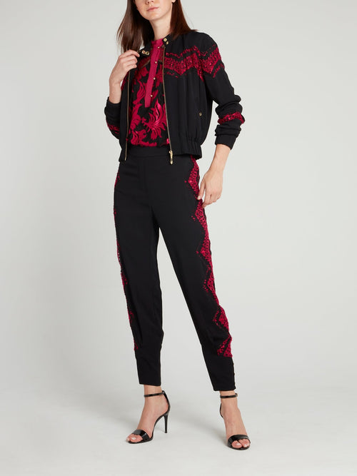 Black Lace Panel Jacket