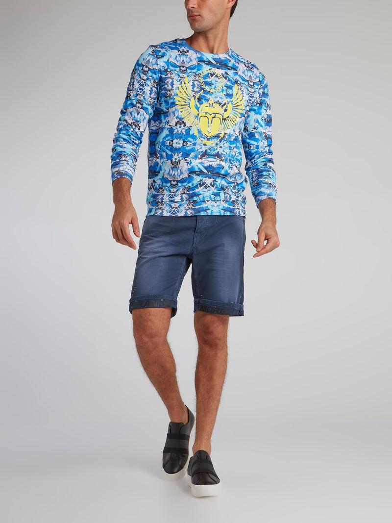 Andronico Navy Paint Splatter Shorts