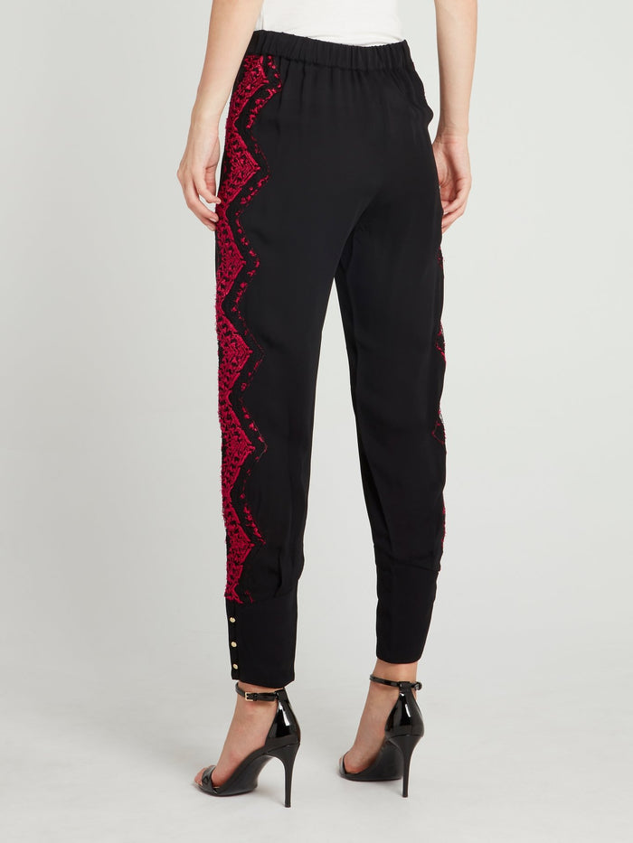 Black Lace Detail Tapered Pants