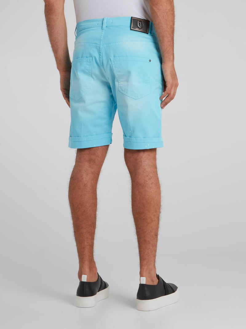 Andronico Blue Paint Splatter Shorts