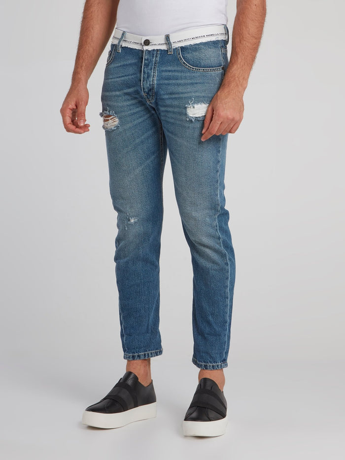 Liberto Blue Distressed Capri Jeans