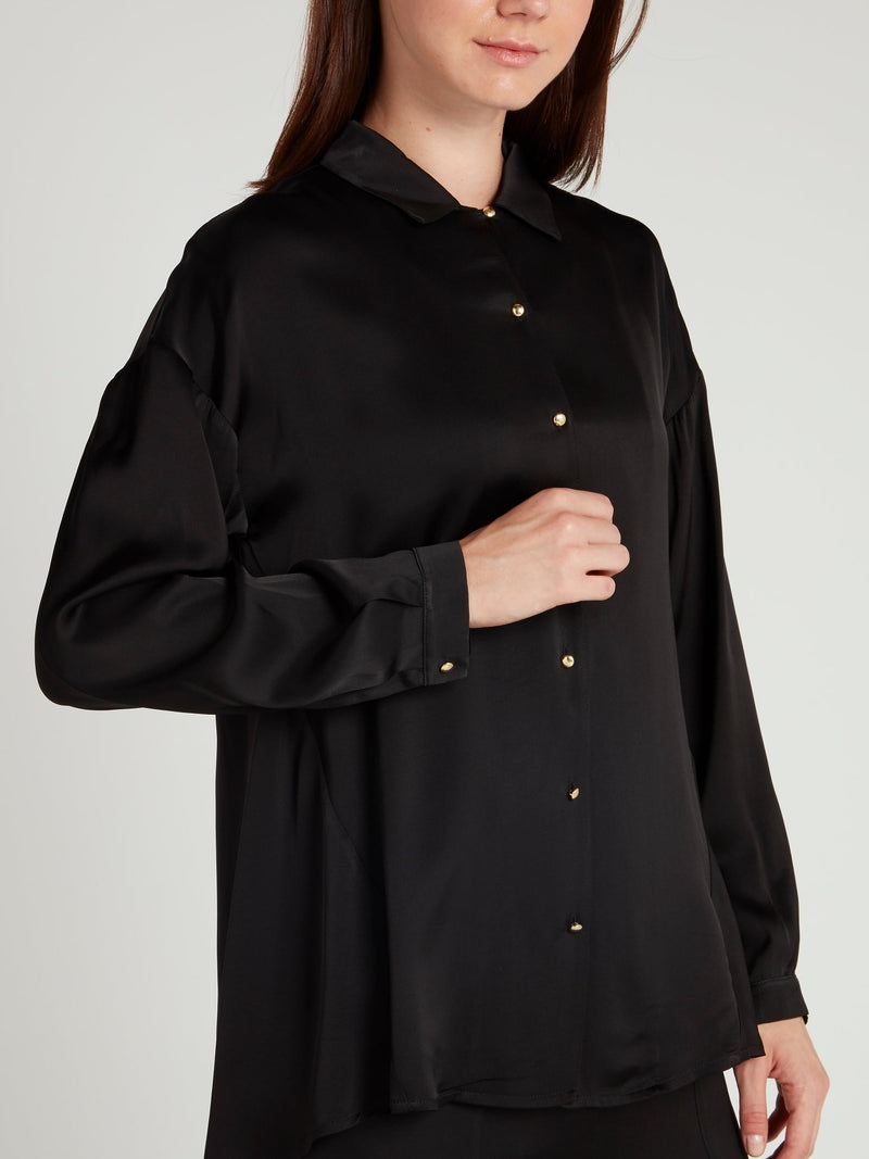Black Button Up Viscose Shirt