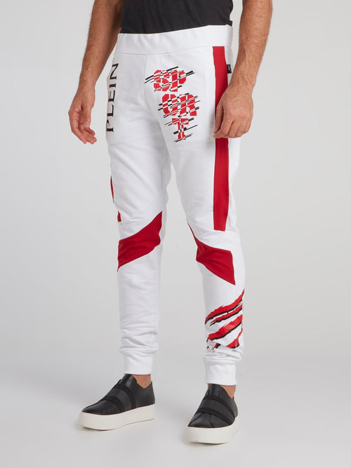 Markab White Contrast Jogging Trousers