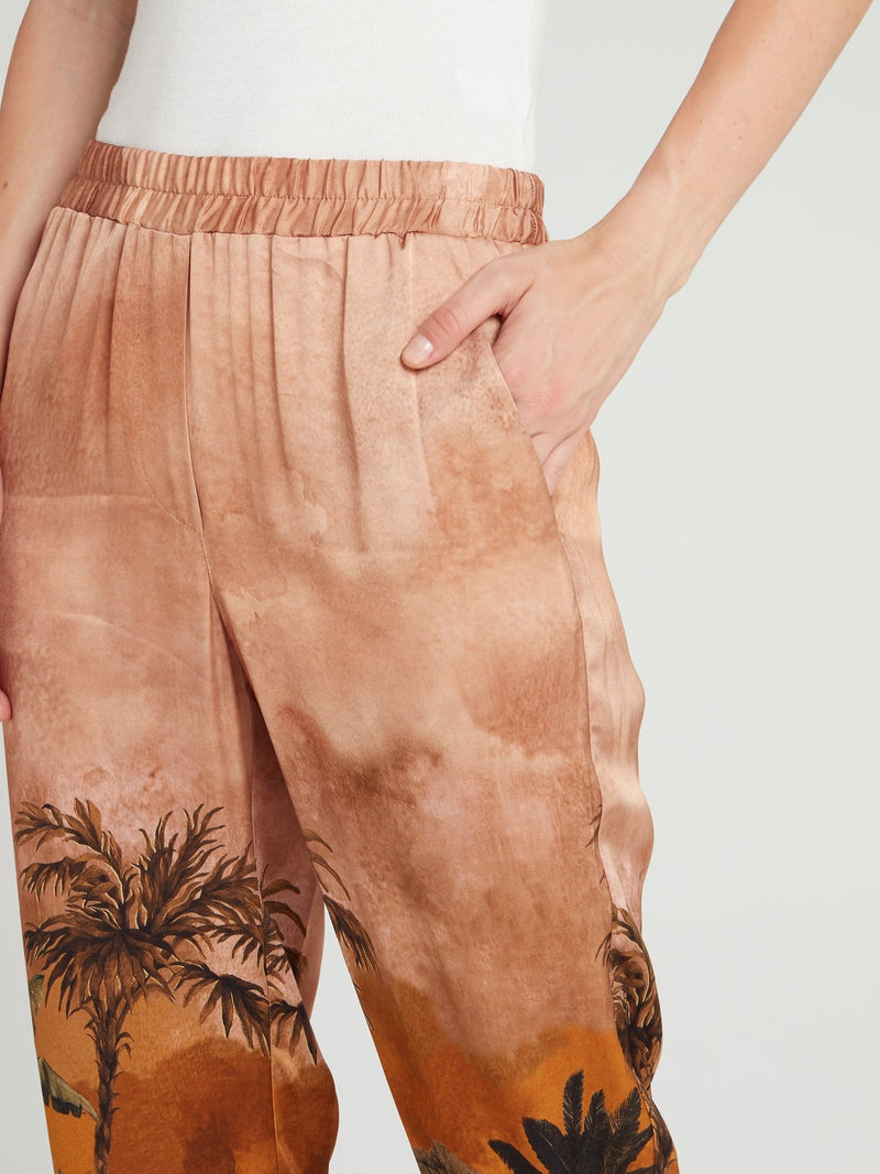 Tropical Print Tapered Pants