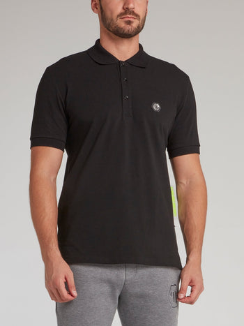 Black Rear Multi-Stud Skull Polo Shirt