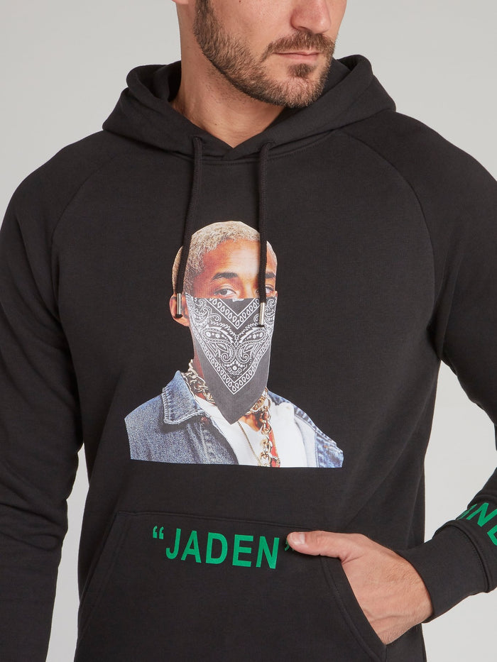 Jaden Smith Black Printed Hoodie