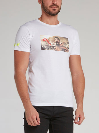 300 White Graphic Print T-Shirt