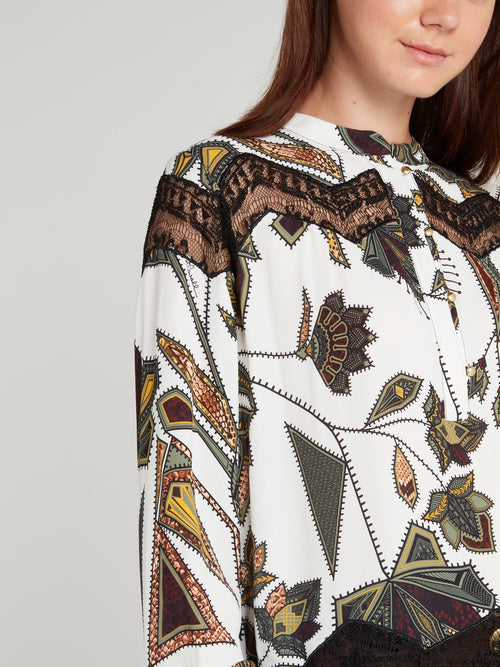 Lace Panel Printed Shirt