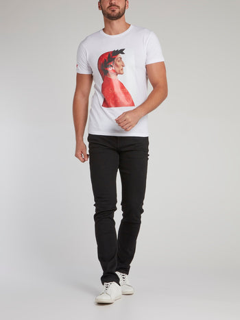 White Graphic Print Cotton T-Shirt