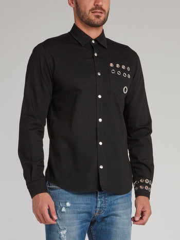 Black Ring Embellished Shirt
