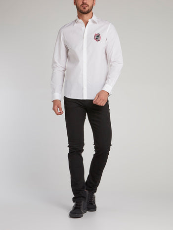 White Appliquéd Logo Shirt