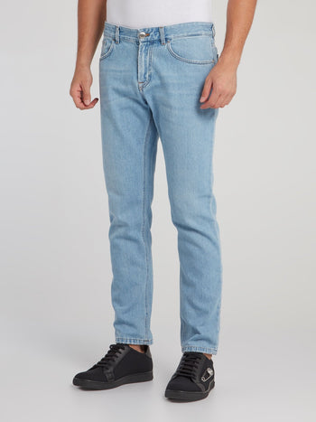 Blue Appliquéd Denim Jeans