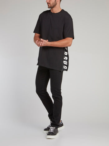 Black Side Zip Logo T-Shirt