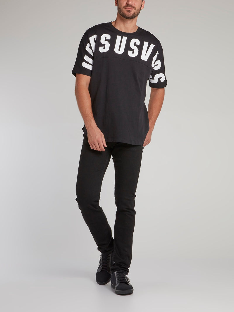 Black Statement Contrast T-Shirt