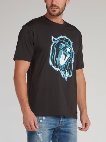 Black Lion Head Print T-Shirt