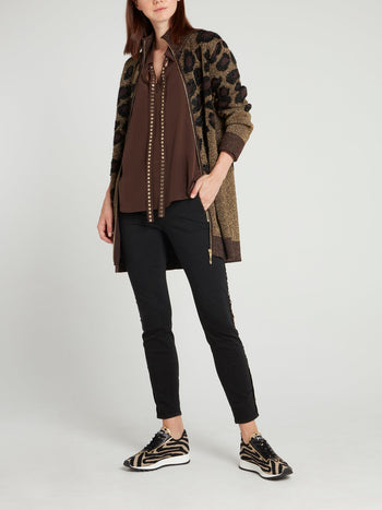 Brown Bishop Sleeve Silk Top