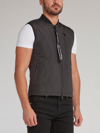 Black Zip Up Quilted Gilet