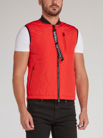 Red Zip Up Quilted Gilet