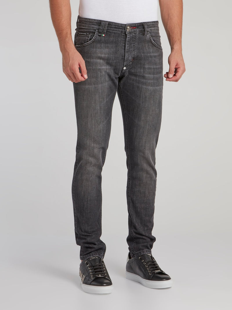 Grey Wash Straight Jeans