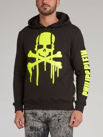 Black Dripping Skull Hooded Sweatshirt