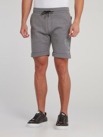 Grey Folded Hem Jogging Shorts