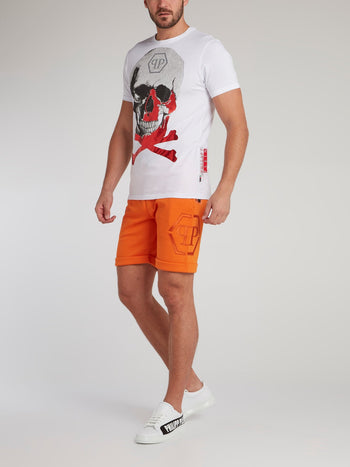 Orange Folded Hem Jogging Shorts