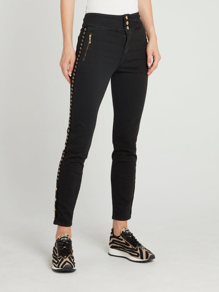 Black Ring Embellished Skinny Jeans