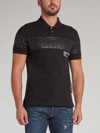 Black Monogram Print Panel Polo Shirt