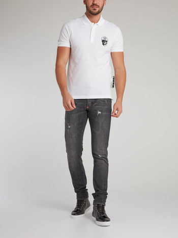 White Skull Embroidered Polo Shirt