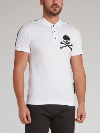 White Logo Tape Skull Polo Shirt