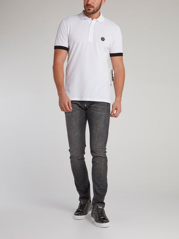 White Studded Thunder Skull Polo Shirt