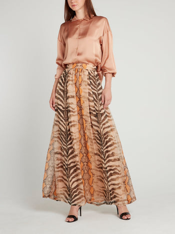 Beige Animal Print Silk Skirt