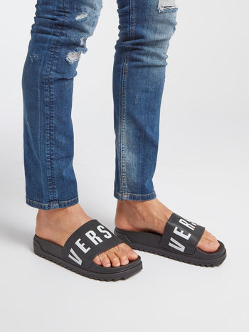 Black Logo Footbed Sandals