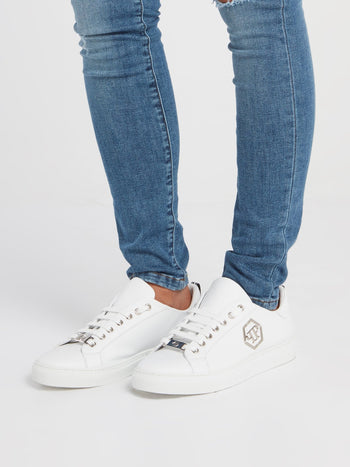 White Monogram Low Top Sneakers