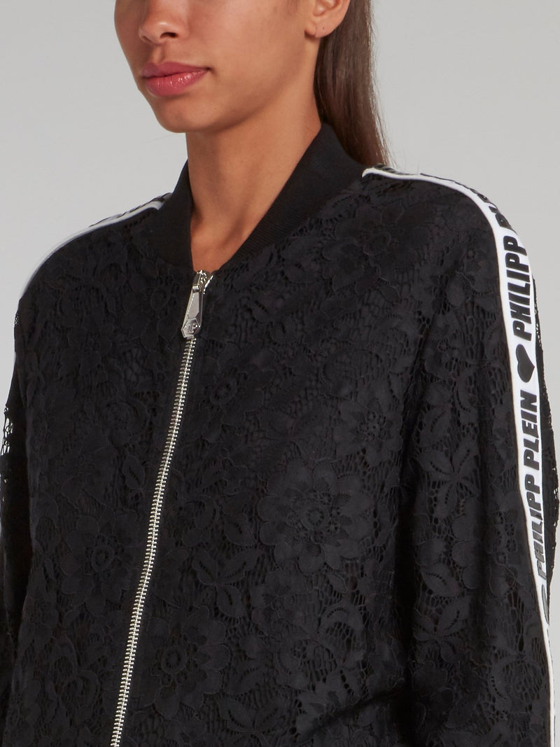 Black Logo Tape Lace Bomber Jacket