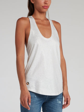 White Racerback Crystal Tank Top