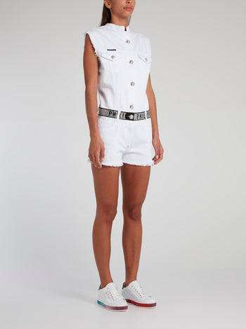 Crystal Plein White Denim Playsuit