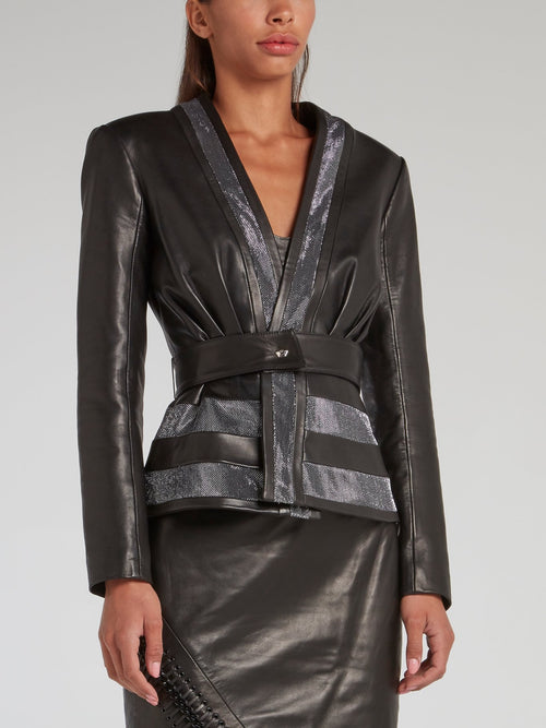 Black Belted Leather Jacket