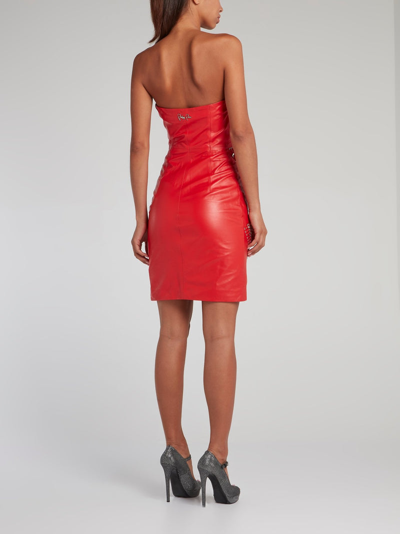 Red Strapless Leather Mini Dress