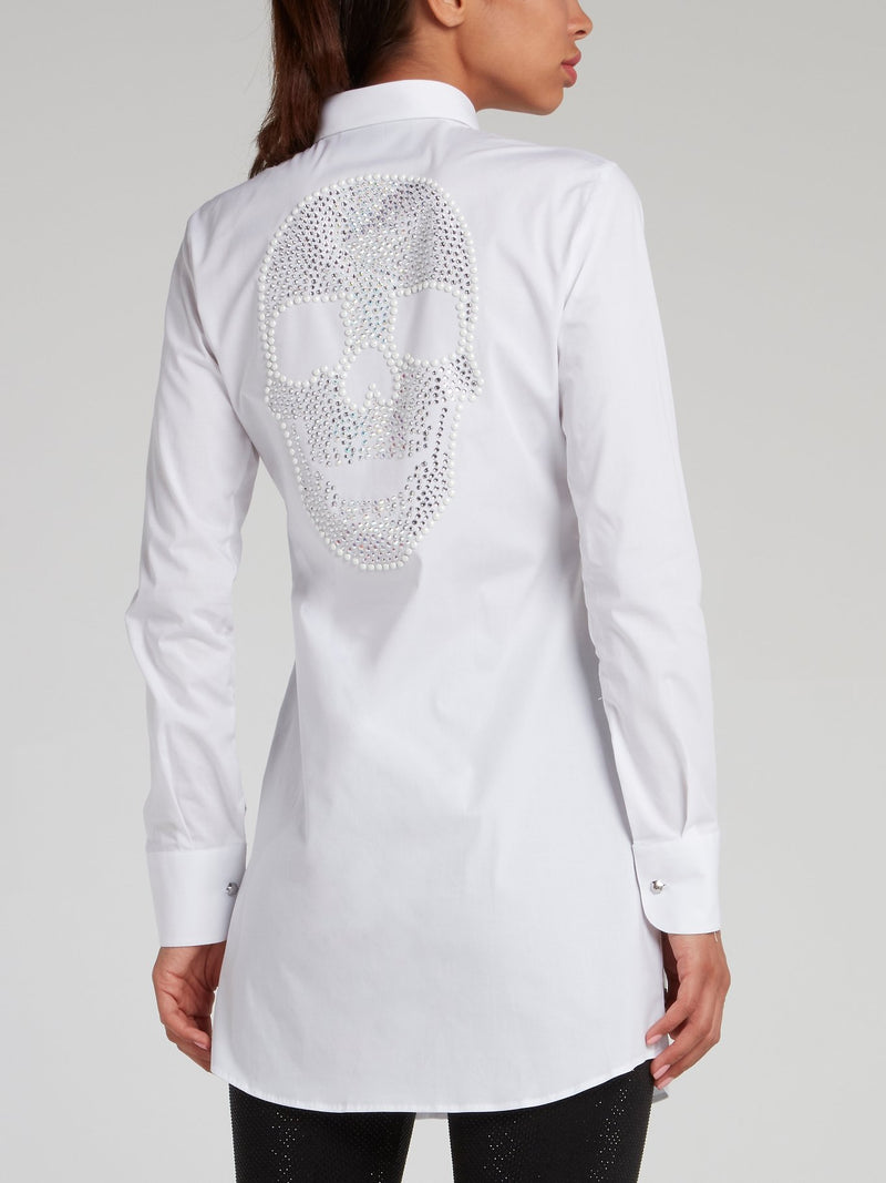 White Rear Multi-Stud Skull Shirt