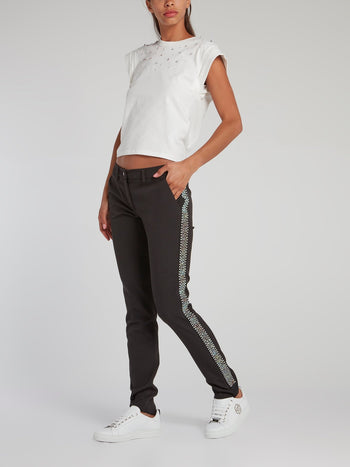 Black Side Studded Slim Fit Trousers