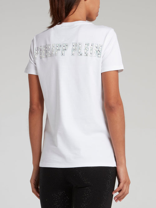 White Multi-Stud Skull T-Shirt