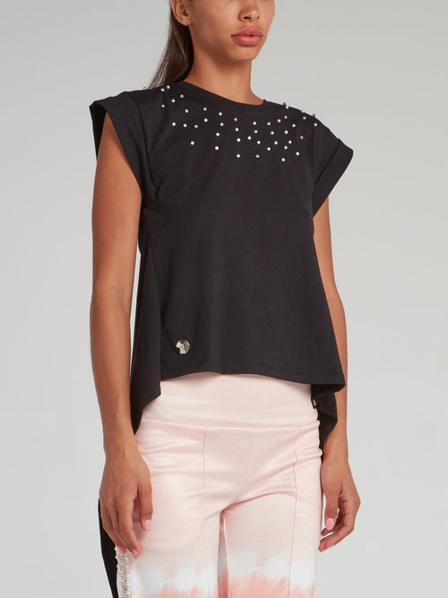 Black Slit Back Pearl Embellished Top