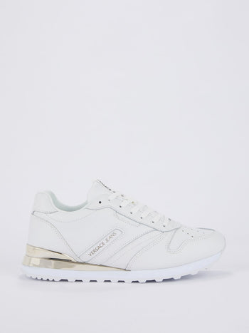 White Perforated Panel Leather Sneakers