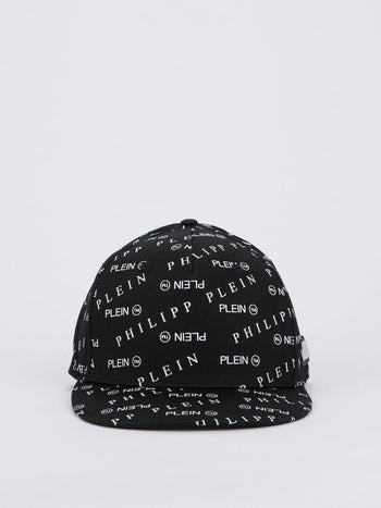 Black Monogram Print Baseball Cap