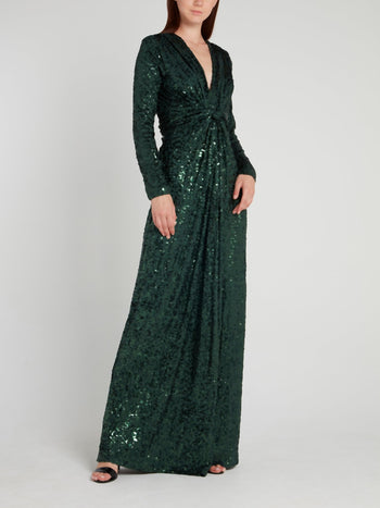 Emerald Sequin Maxi Dress