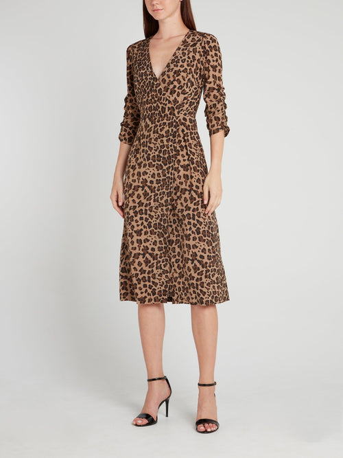 Leopard Print Surplice Midi Dress